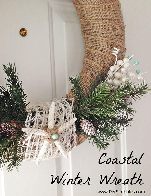 diy coastal winter wreath christmas decorations crafts