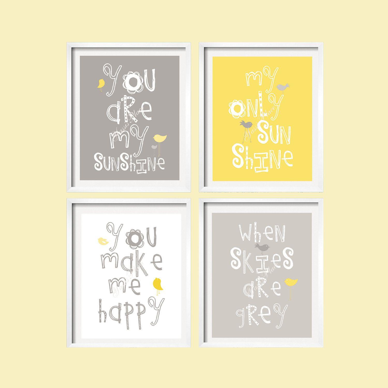 You Are My Sunshine Wall Art Prints Yellow and Gray Nursery Art Set ...