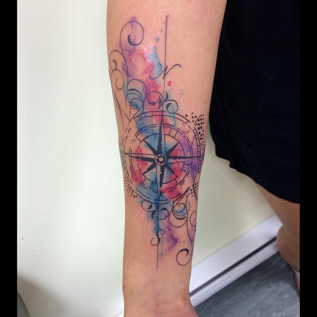 Watercolor Compass By @leni_xoxo #abstracttattoo #tattoo