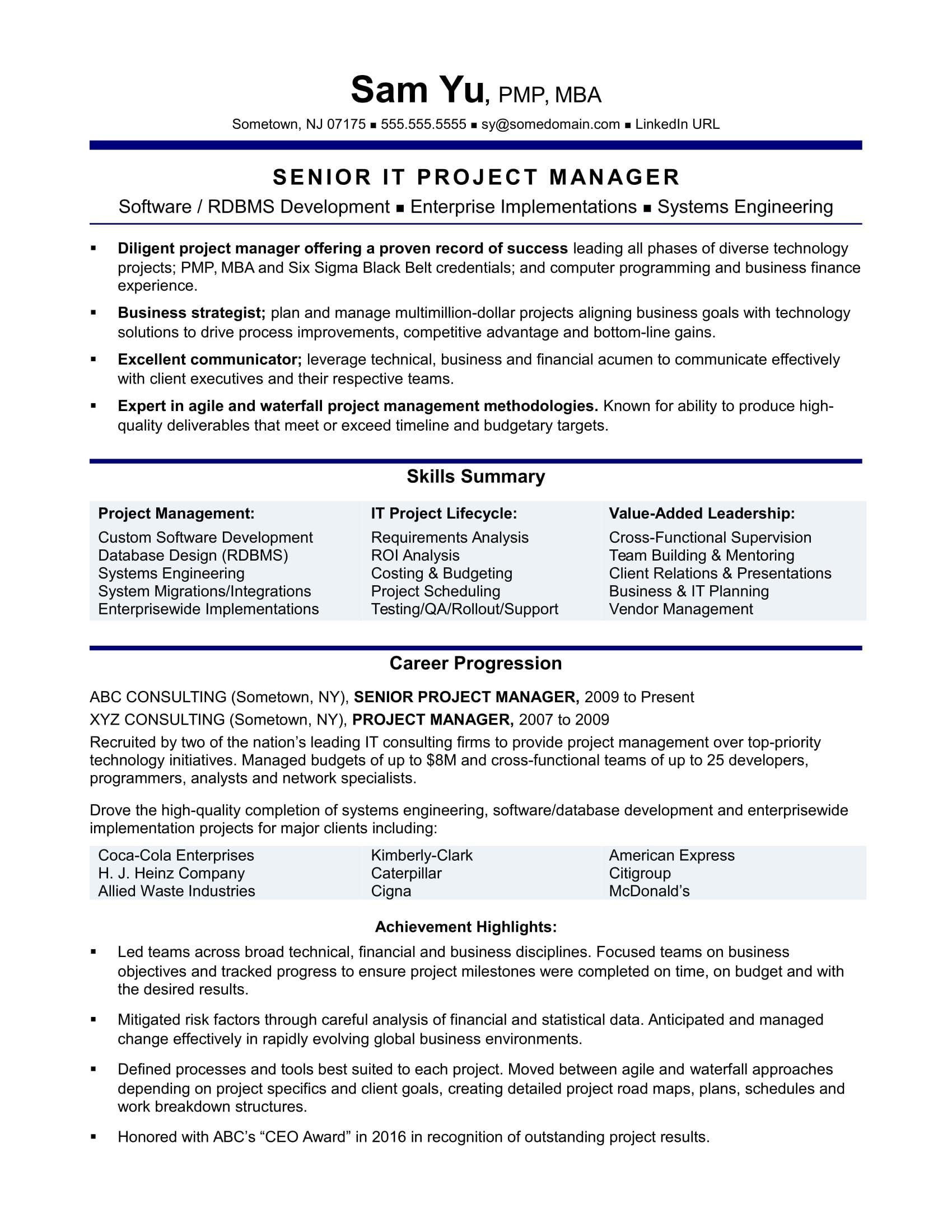 Resume Examples By Industry And Job Title Project Manager Resume