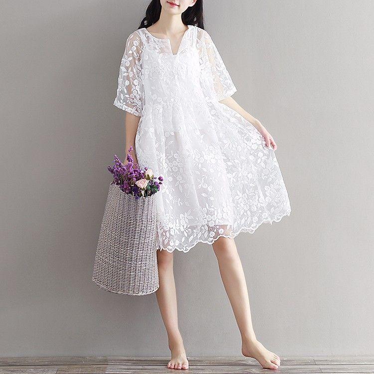 new mori girl chiffon dresses white color high waist embroidery