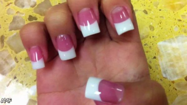 Dark Pink And White Solar Nails 2015 2016 French Tip Acrylic Nails White Acrylic Nails French Acrylic Nails