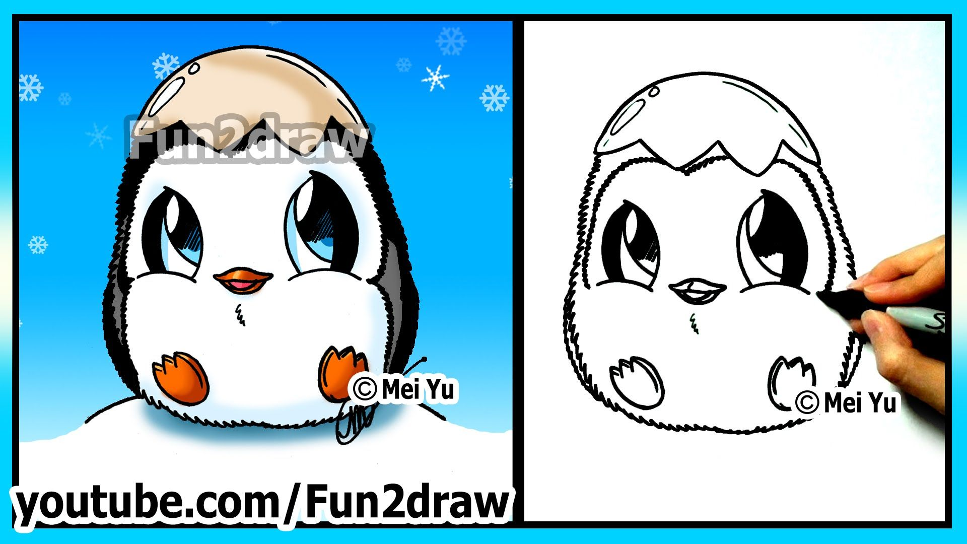 How to Draw for Kids Super CUTE Baby Penguin Fun2draw
