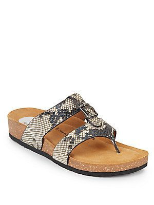 Sofft Bettina Embossed Snakeskin Leather Thong Sandals - Size