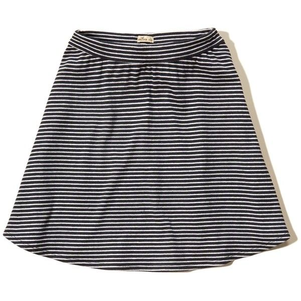 Hollister Ribbed Knit Skater Skirt ($25) ❤ liked on Polyvore featuring skirts, hollister, black stripe, ribbed knit skirt, striped skater skirt, stripe skirts, flared skirt and skater skirt