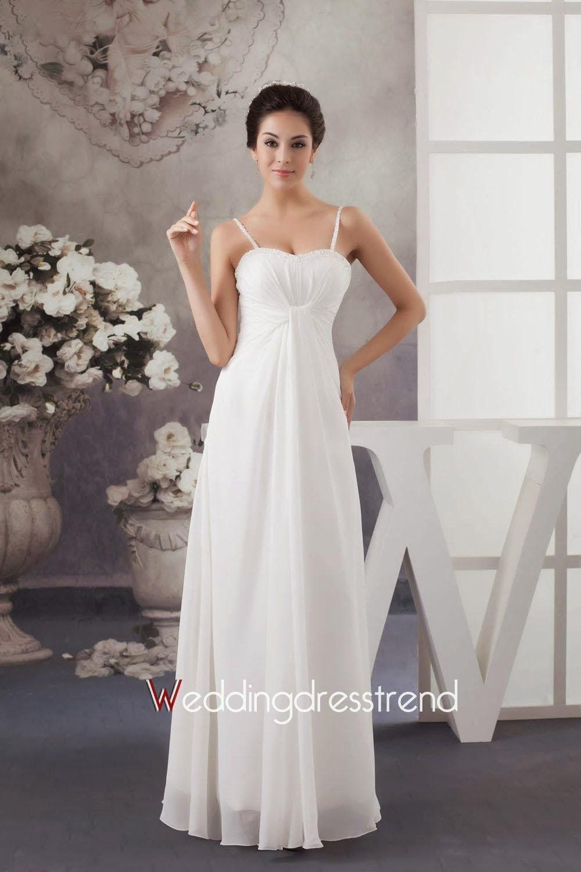 White Chiffon Floor Length A Line Evening Dress