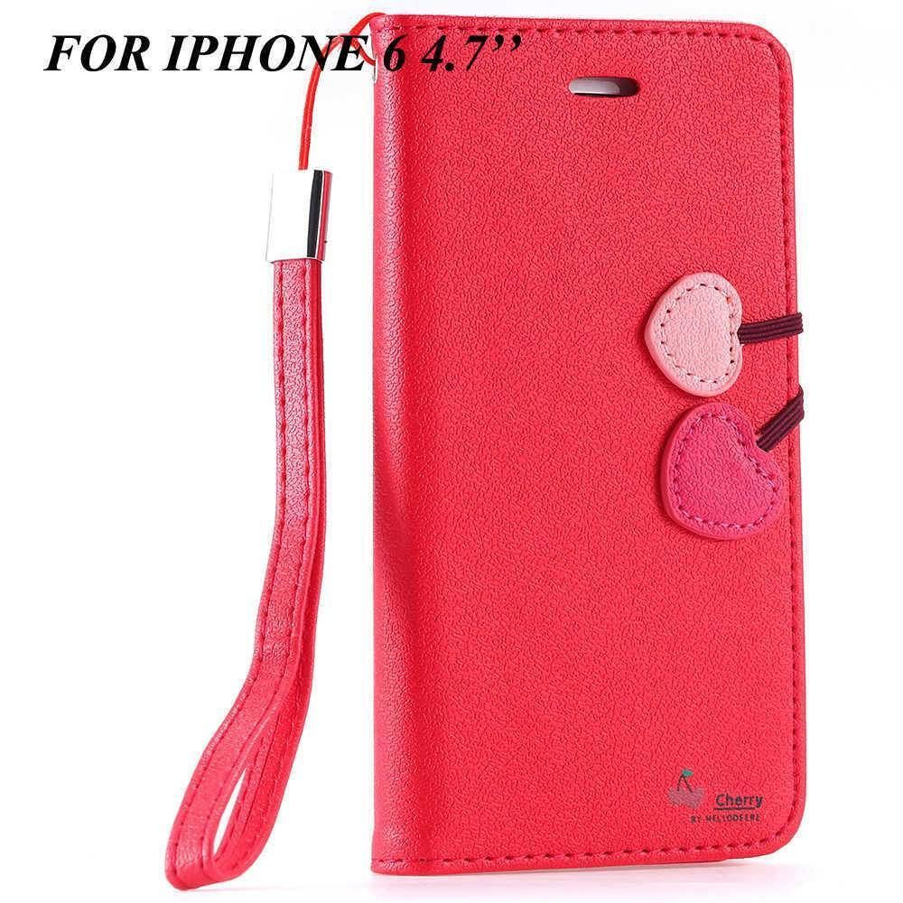 Cherry Heart Leather Stand Case for Apple iPhone 5/5s/6/6s