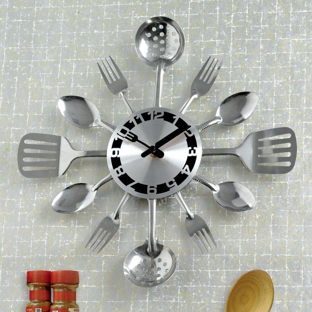 Amazon Com Bits And Pieces Contemporary Kitchen Utensil Clock