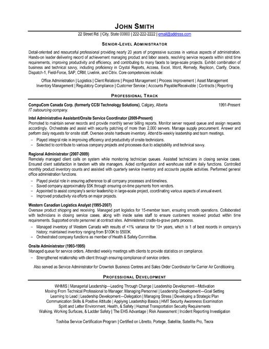A resume template for a Senior-Level Administrator You can - Assessment Specialist Sample Resume