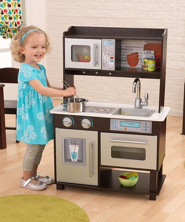 KidKraft Espresso Wooden Toddler Kitchen With Sink, Microwave, Stove,  Fridge And More   Brown And Silver   Suitable For Ages 3 And Up