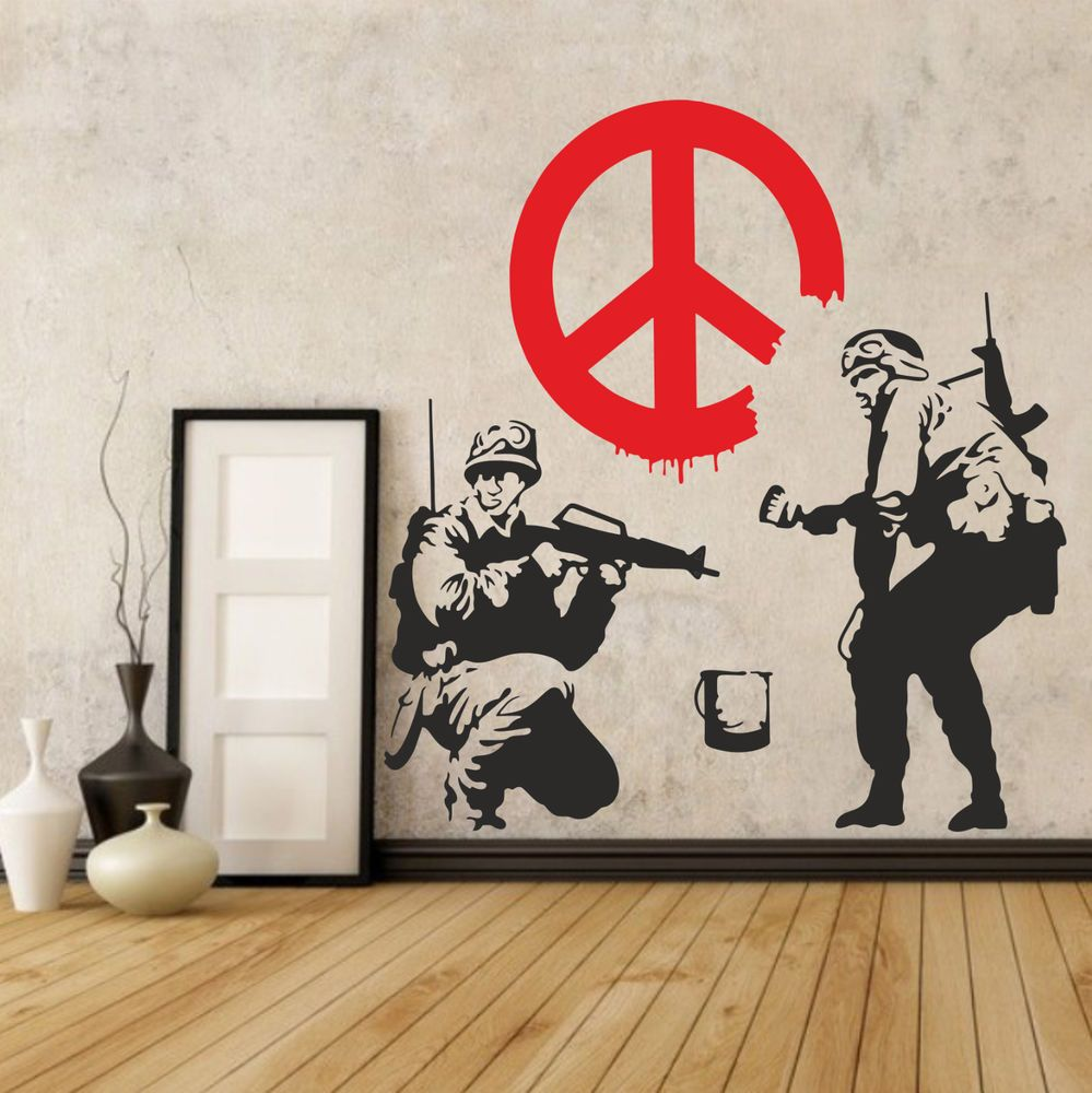 Graffiti wall art bedroom - Banksy Soldiers Wall Decal Sticker Vinyl Street Art Graffiti Bedroom Kitchen New Ebay