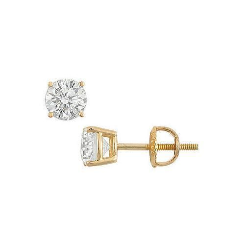 Buy 18K Yellow Gold : Round Diamond Stud Earrings 1.25 CT