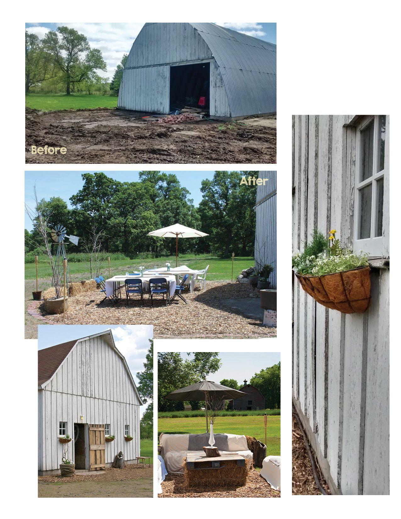 Before After The Exterior Barn Patio Outdoor Decor Backyard Barn Backyard Barn Wedding Reception