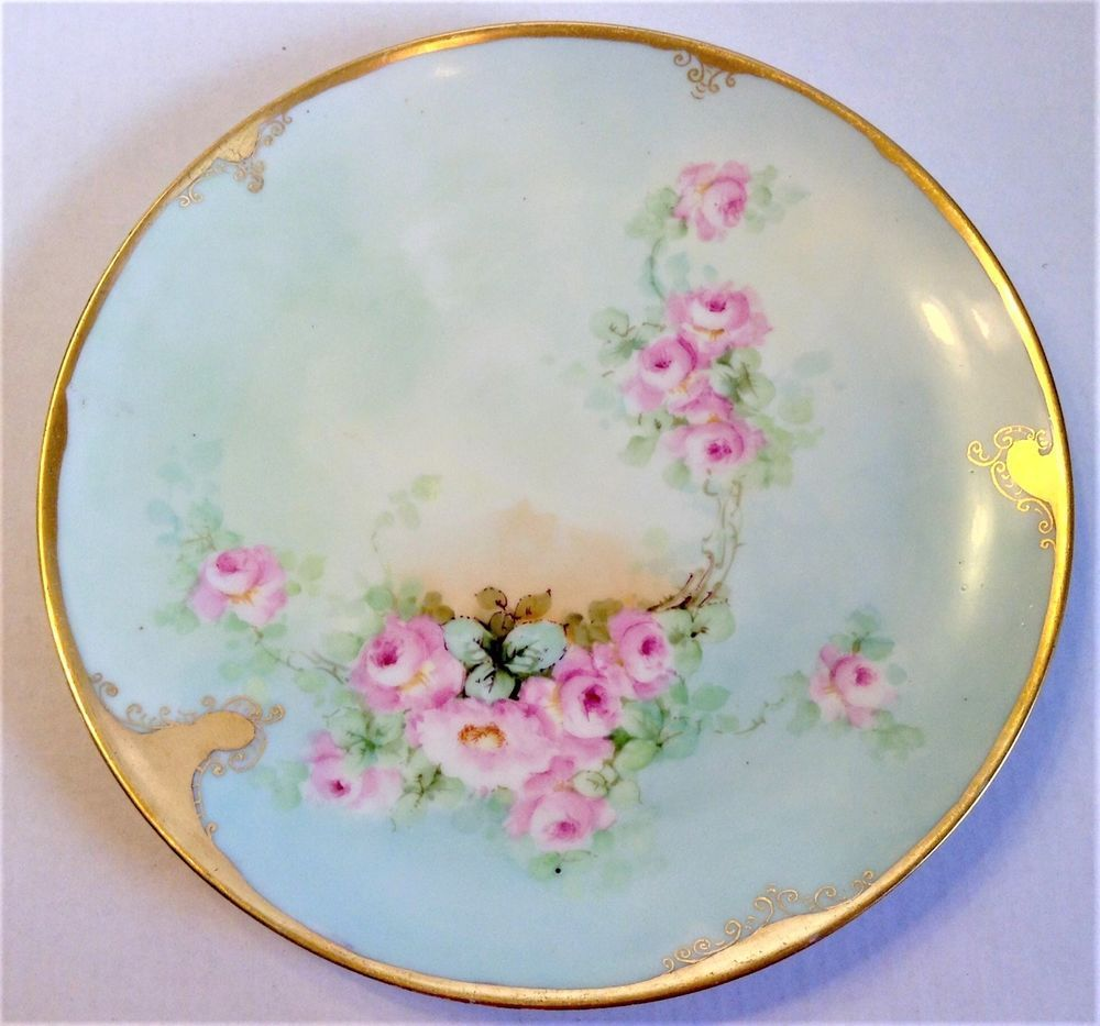 Chinese Antique 19c Porcelain Plate Hand Painted W//Mark Floral