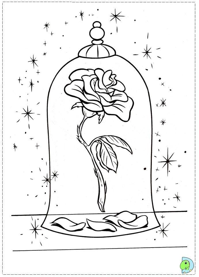 La Belle Et La Bete Dessin Facile : belle, dessin, facile, Beauty, Beast, Coloring, Page-, DinoKids.org, Coloriage, Belle, Bête,, Rose,