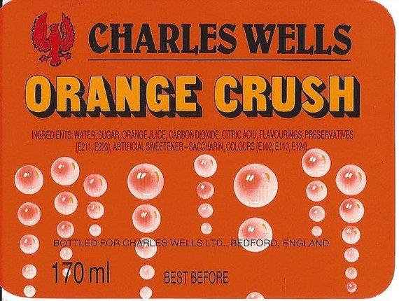 Vintage Charles Wells Orange Crush Soda Label, 1930s