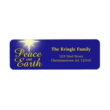 Peace on Earth Christmas Star Address Labels - script gifts template