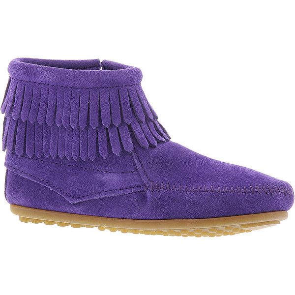 Minnetonka Double Fringe Side Zip (Girls' Toddler-Youth) ($45) ❤ liked on Polyvore featuring shoes, boots, purple, zipper boots, minnetonka footwear, leather upper boots, side zip boots and minnetonka boots