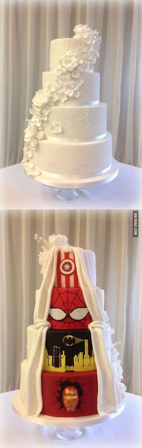 Dual wedding cake   Wedding cake  Future husband and Cake I like the idea but would want the superhero part more downplayed hidden