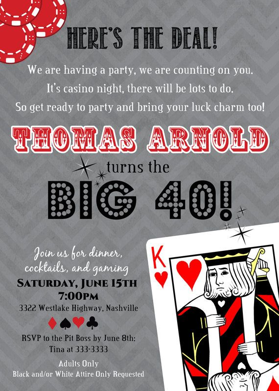 Casino Poker Card Euchre Adult Birthday Party Invite By