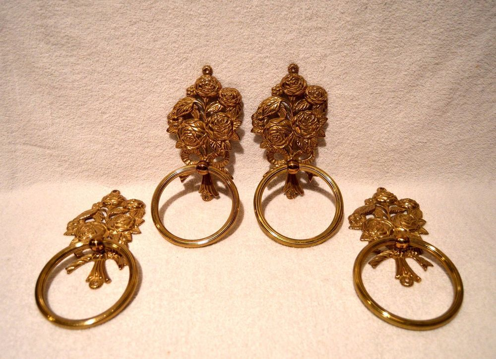 Set Of 4 Vintage Brass Floral Rose Drapery Ring Pull Tie Backs Or Towel Holders #DoesNotApply
