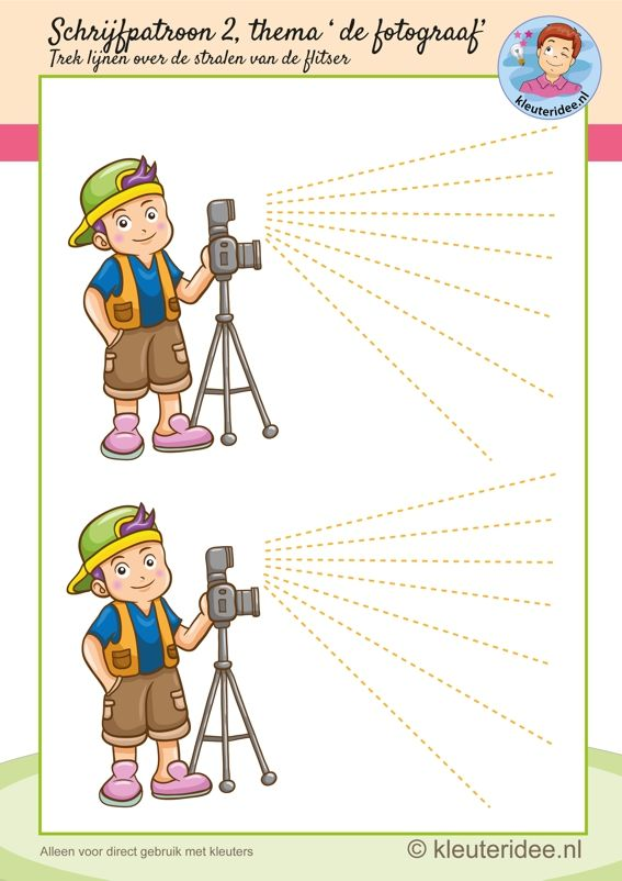 Schrijfpatroon bij thema 'de fotograaf' voor kleuters, flitser ...