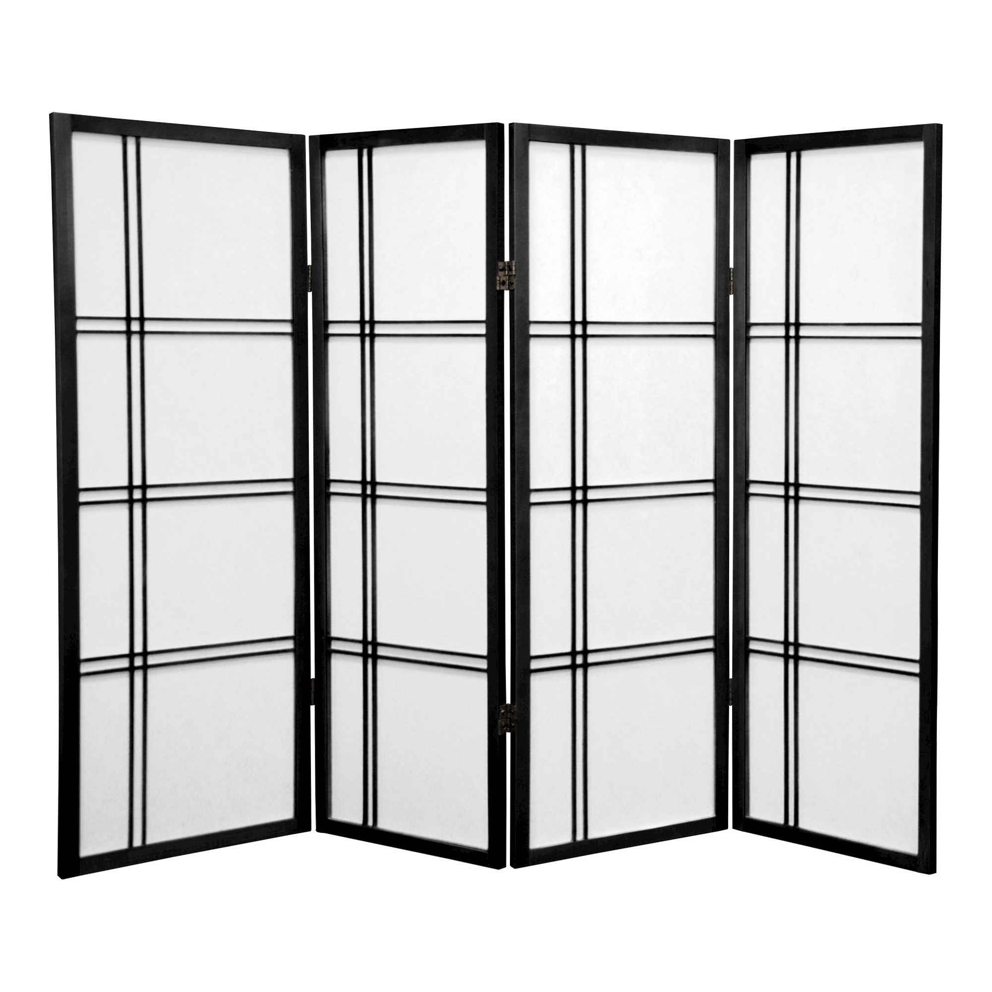4 Ft Tall Double Cross Shoji Screen Black 4 Panels Oriental