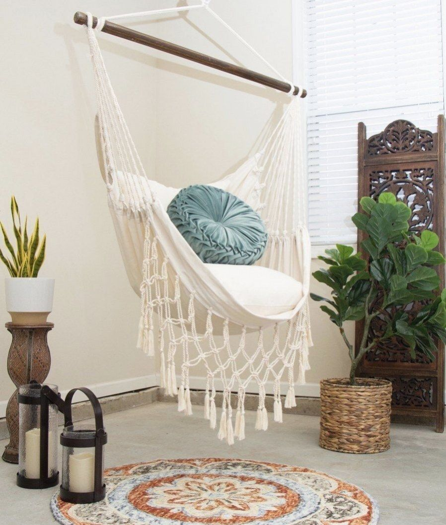 Natural off white macrame hammock chair 2 pillows set in
