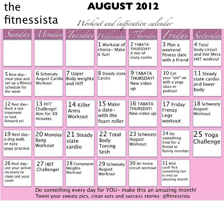 august 2012 workout calendar The Fitnessista blog Pinterest - workout calendar