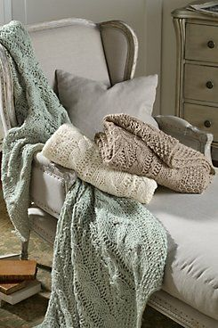 Cable Knit Throw  Cable knit isn't just for sweaters anymore! Our exclusive Soft Surroundings Cable Knit open-weave Throw is as soft and touchable as your favorite wearable kn