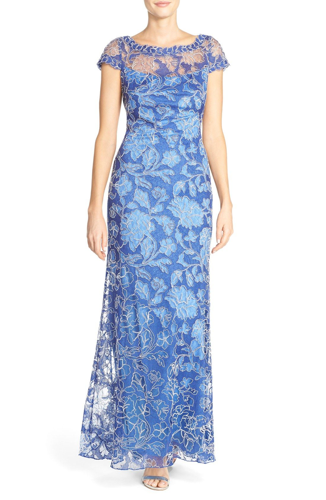Free shipping and returns on Tadashi Shoji Embroidered Lace Gown at ...