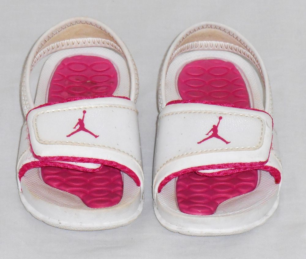 f6fc2607e443 Baby Jordan shoes pink white sandals infant size 4C girls flip flops  Jordan   Sandals