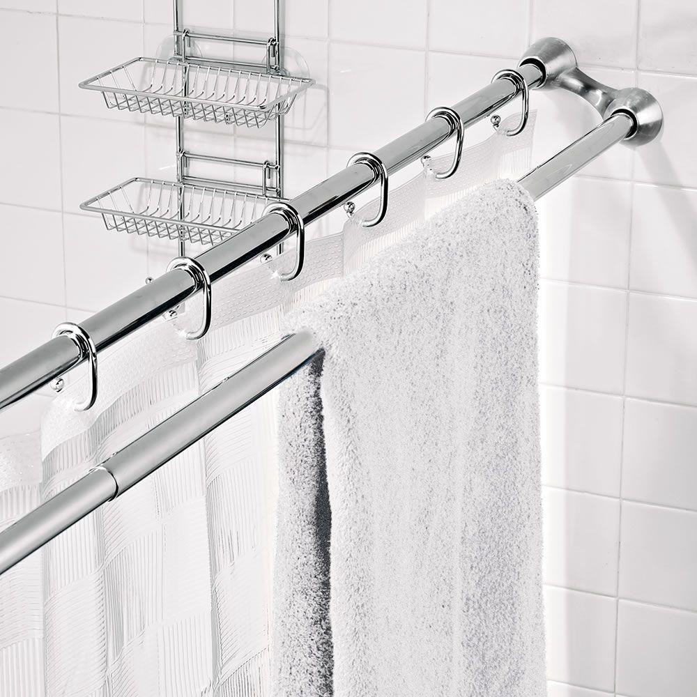 The Shower Curtain Towel Rack Hammacher Schlemmer Maximizes E In A Small Bathroom
