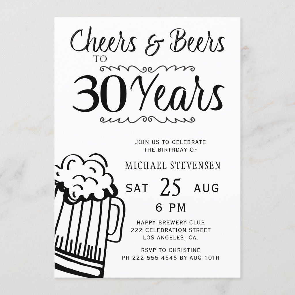 Cheers And Beers 30th Men Casual Birthday Invitation Zazzle Com In 2021 Funny Birthday Invitations Birthday Invitations Funny Invitations