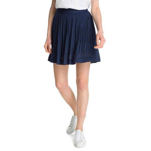 Jupe courte évasée plissée femme Esprit - Bleu marine- Vue 1   Mode ... b93865cd55ce