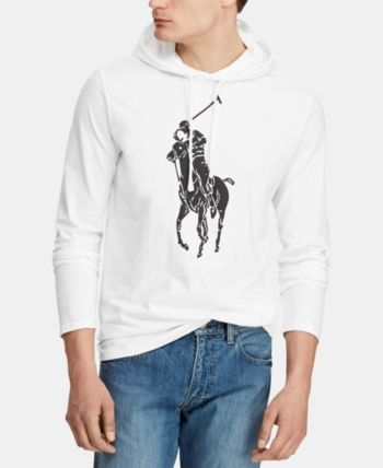 56aa64960 Polo Ralph Lauren Men's Big Pony Jersey Hooded T-Shirt - White L