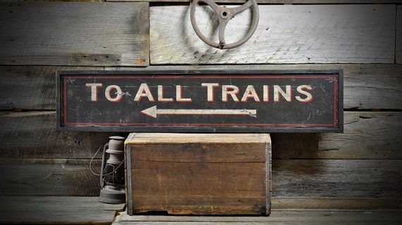 To All Trains Arrow Station Sign  Rustic Hand by TheLiztonSignShop