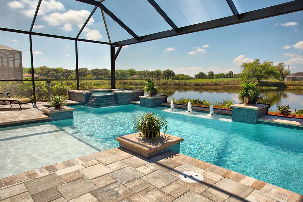 So pretty dream home florida pool screened in patio for Pool designs florida