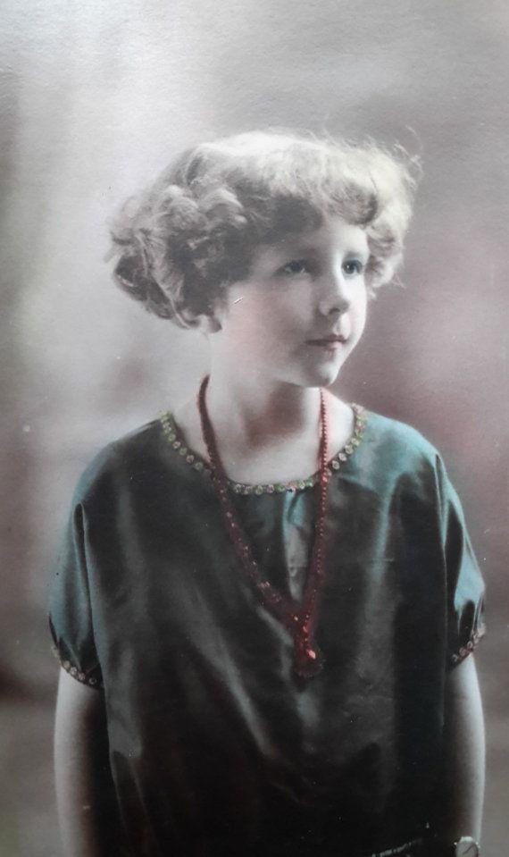 Antique Photo Color Tinted 1920 Cute by OldGloryAntiquePaper