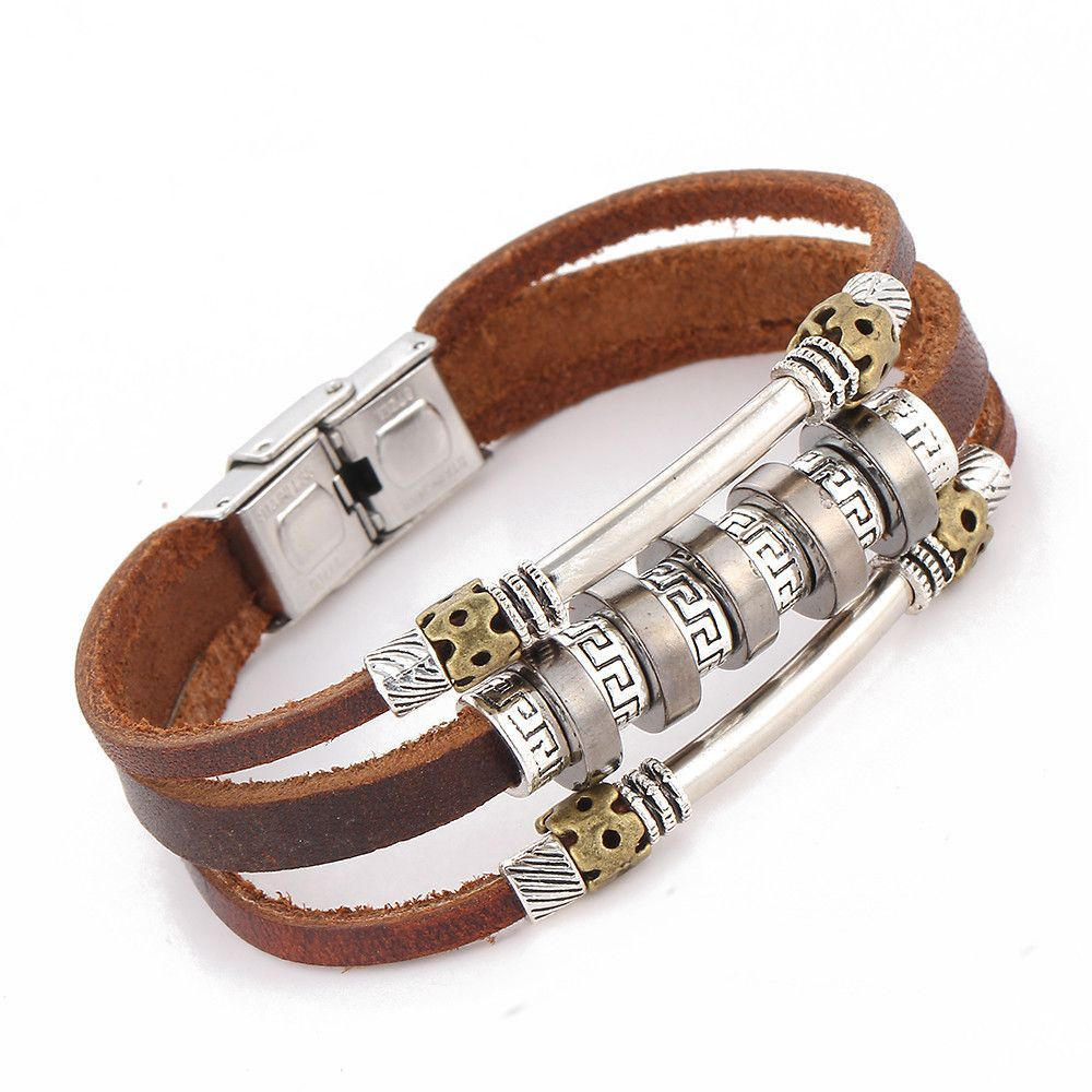 Handmade Retro Leather Woven Charm Rock Bracelet Men Vintage Braided