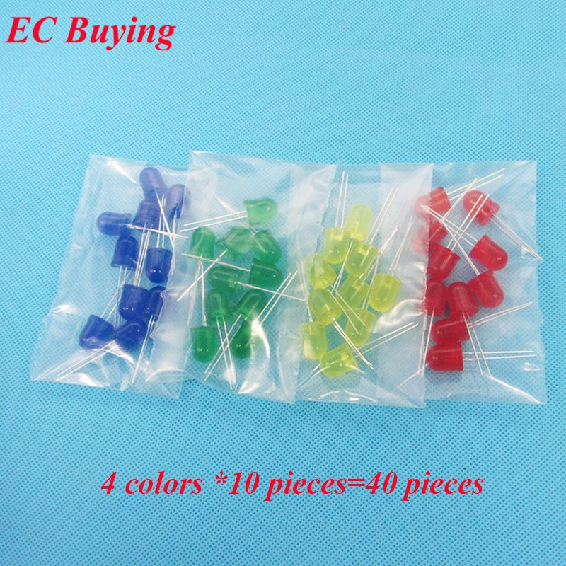 10mm Led 4 Colors Red Blue Yellow Green Diffused Round Light Emitting Diodes Lamp Bead Dip Plug In Bulb Assort Light Emitting Diode Round Light Red Blue Yellow