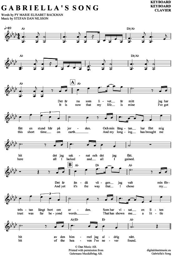 Gabriellas Song Keyboard Helen Sjoholm Filmmusik Aus Wie Im Himmel Pdf Noten Klick Auf Die Noten Um Reinzuhoren Floten Noten Keyboard Noten Keyboards
