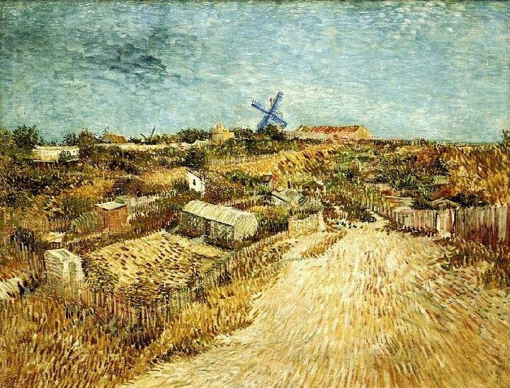 Vincent van Gogh (Dutch, Post-Impressionism, 1853-1890): Vegetable Gardens in Montmartre, 1887. Created in Paris, France. Oil on canvas, 96 x 120 cm. Stedelijk Museum, Amsterdam, Netherlands.