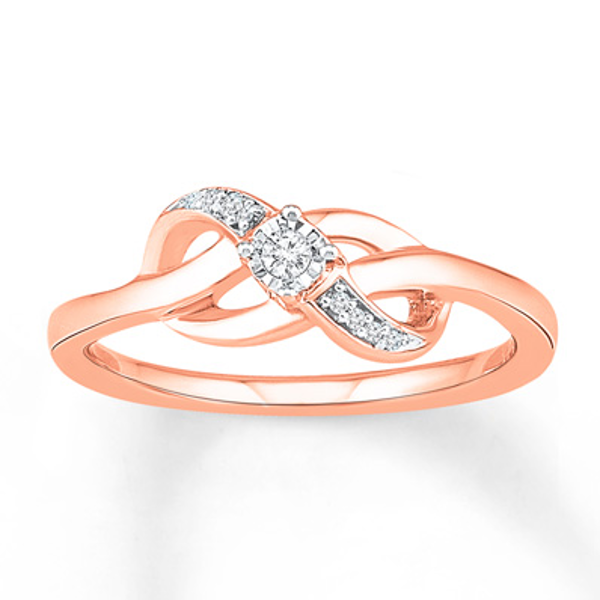 Promise Ring 1 20 Ct Tw Diamonds 10k Rose Gold Diamond Wedding Bands Promise Rings Rose Gold