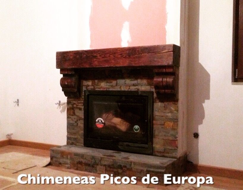 Chimenea de le a con cassette y car cter r stico - Madera para chimenea ...