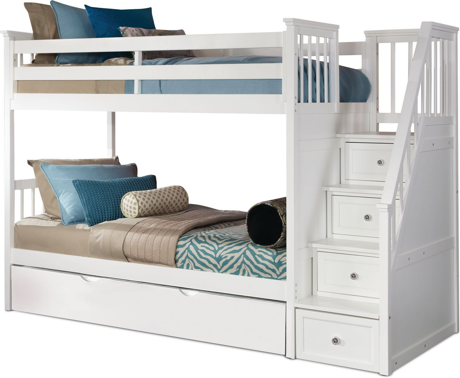 Flynn Twin Over Twin Trundle Bunk Bed With Storage Stairs White
