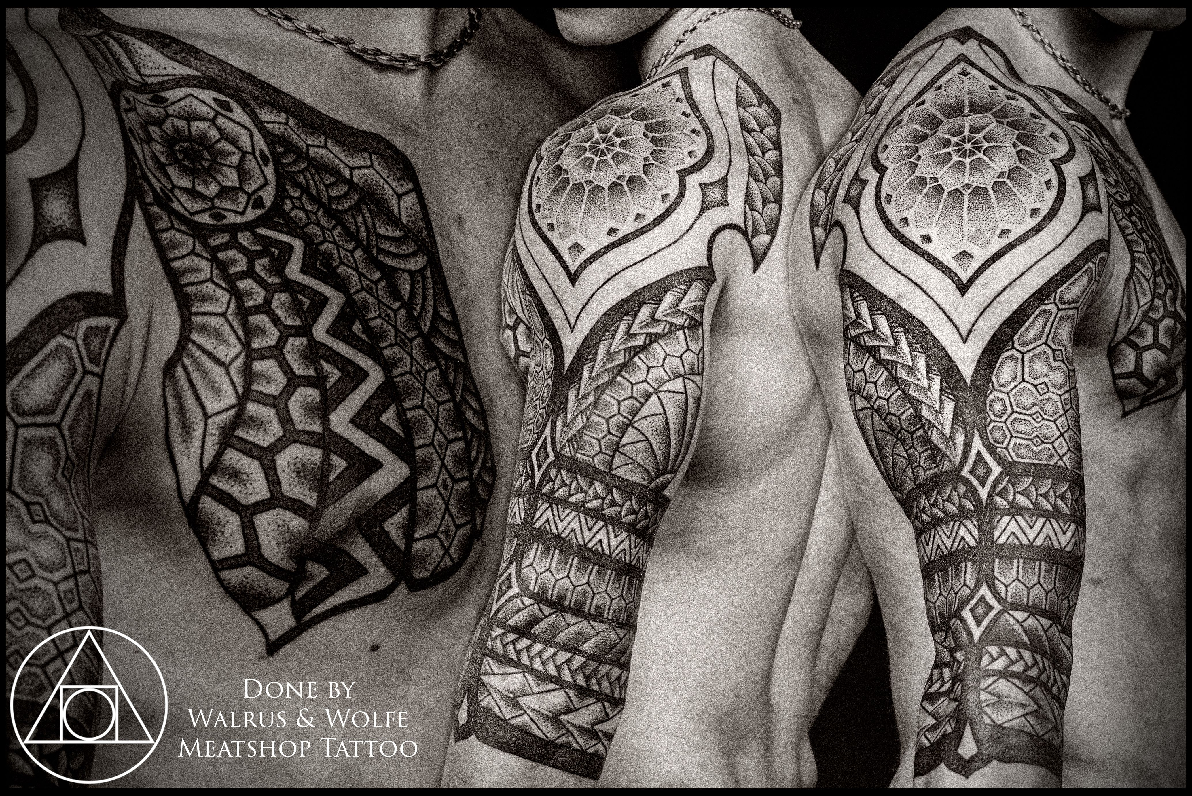 Polynesian tattoo on arm and chest - Semi Polynesian Inspired Arm Shoulder Chest By Peter Walrus Madsen And Uffe Berenth Wolfe Meatshop Dk