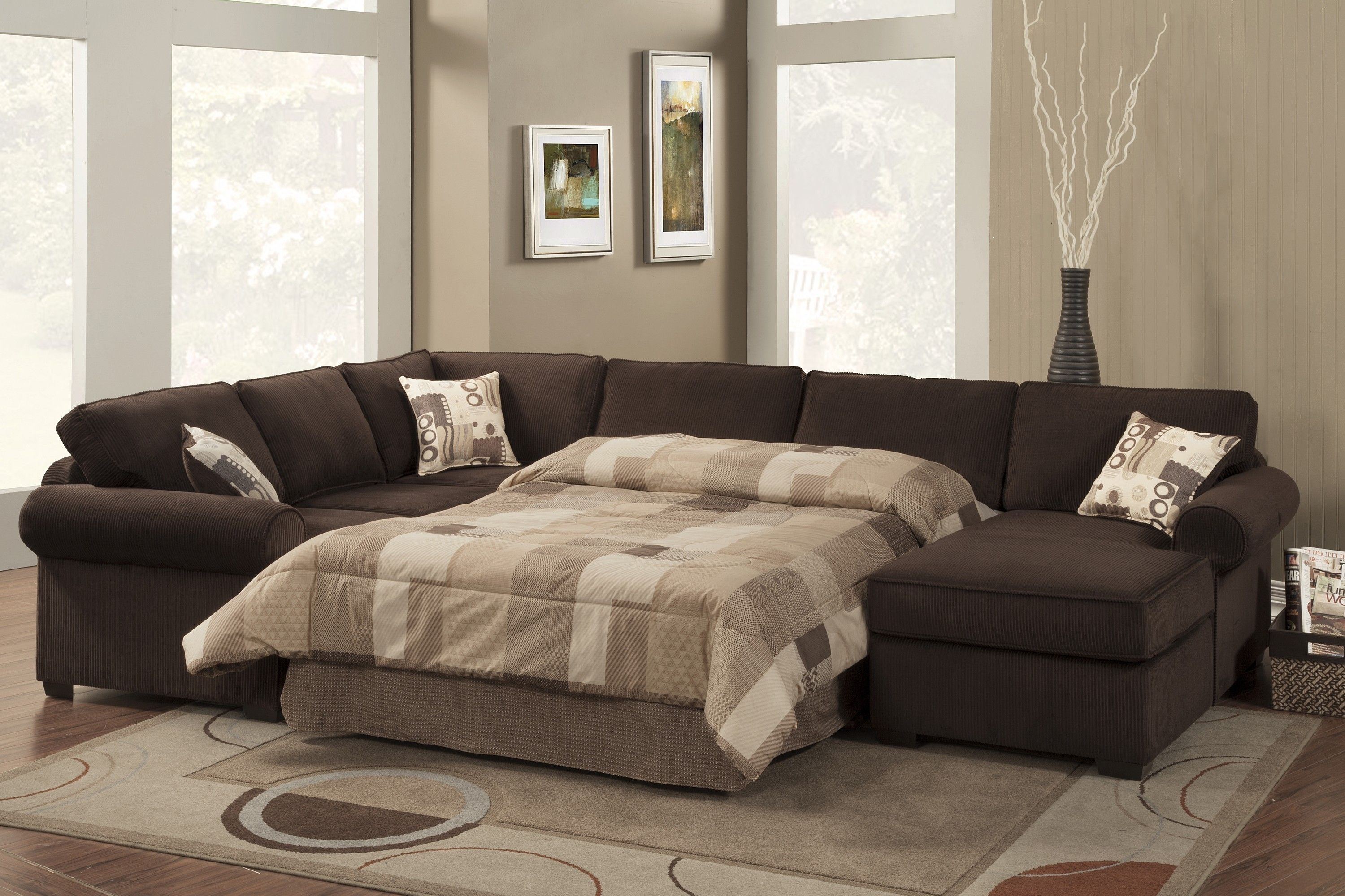 Sectional Sleeper Sofa With Queen Bed Brown Sectional Sofa