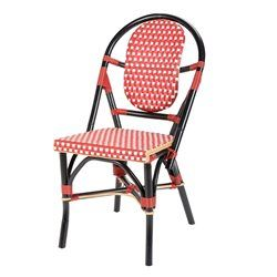 chaise bistrot rouge faro polyrotin rotin design - Chaise Bistrot Rouge