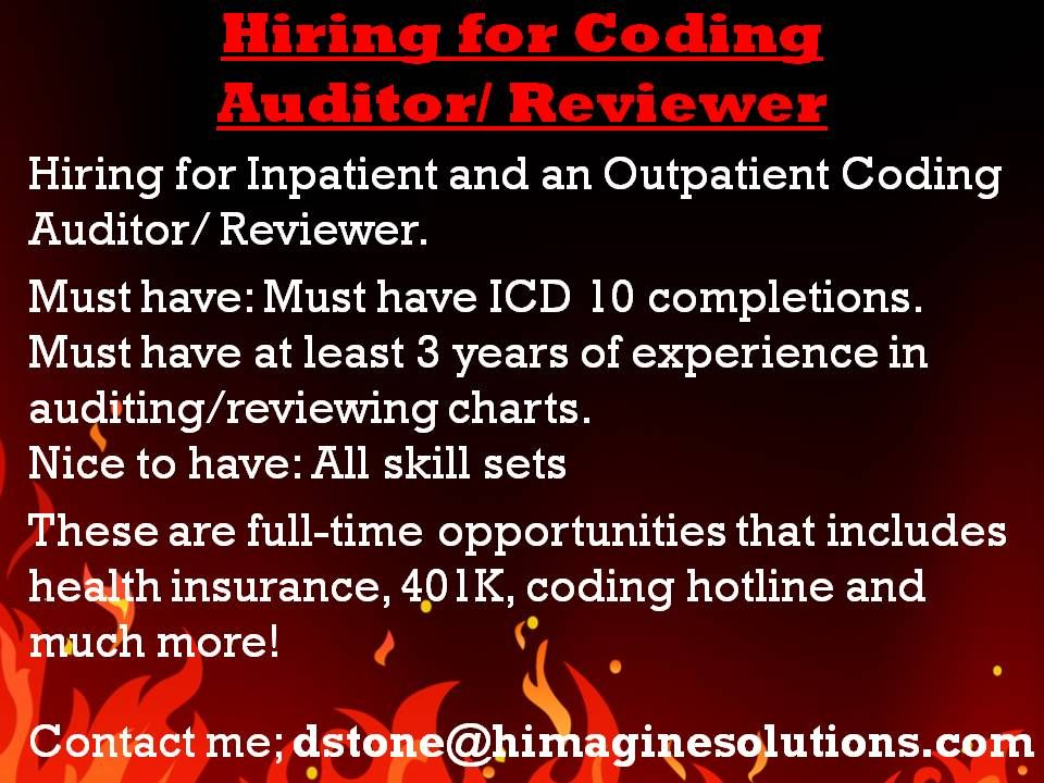 email resume to dstone@himaginesolutions ICD-10 Codes - coding auditor sample resume